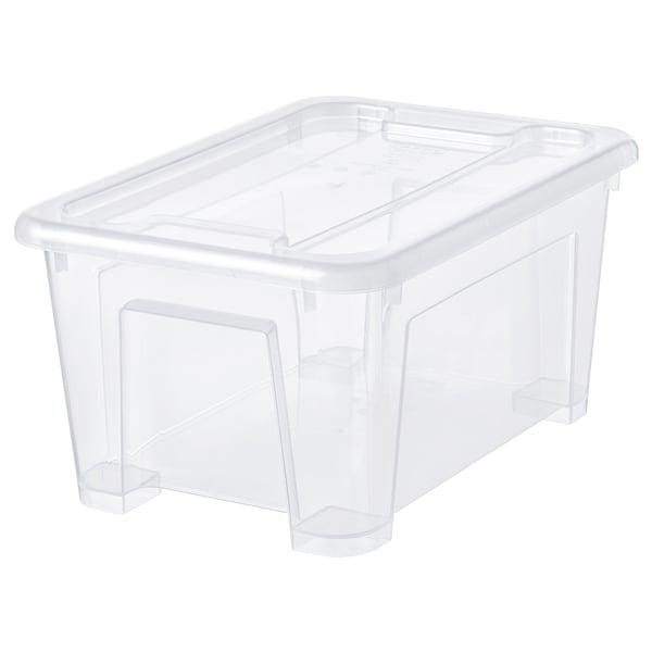 SAMLA صندوق بغطاء, شفاف, 28x20x14 سم/5 ل