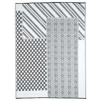 SAMMANKOPPLA سجاد، غزل مسطح, أسود/ أبيض, 180x240 سم