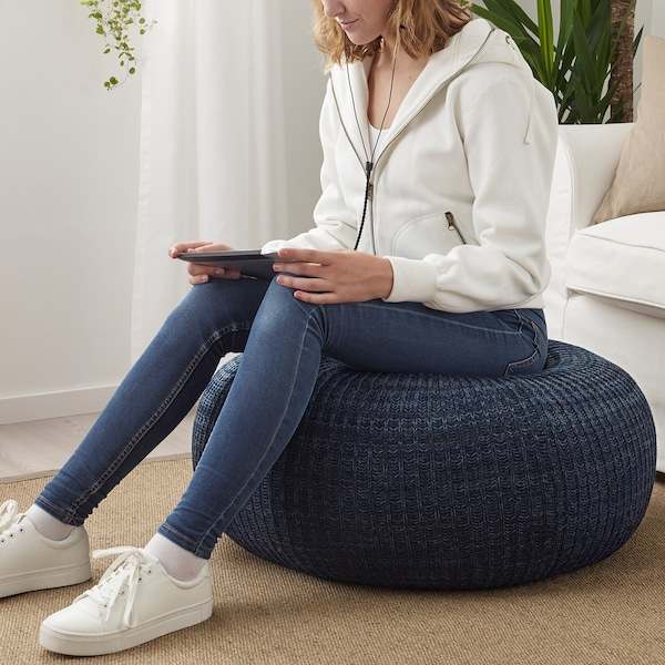 SANDARED Pouffe, dark blue, 71 cm