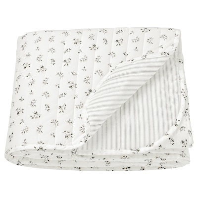 SANDLUPIN غطاء سرير, أبيض/رمادي, 160x250 سم