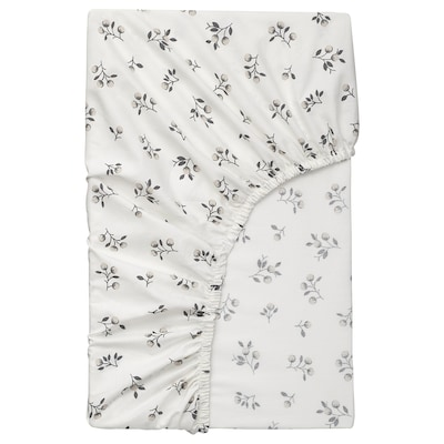 SANDLUPIN Fitted sheet, floral patterned, 140x200 cm