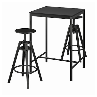 SANDSBERG / DALFRED طاولة عالية و 2 مقعد عالي, أسود/أسود, 67x67 سم