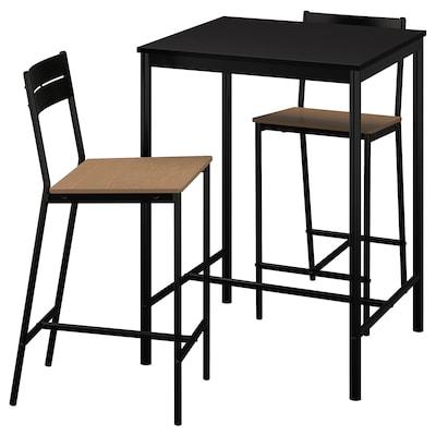 SANDSBERG / SANDSBERG طاولة عالية و 2 مقعد عالي, أسود/أسود, 67x67 سم