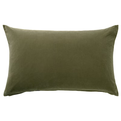 SANELA Cushion cover, olive-green, 40x65 cm