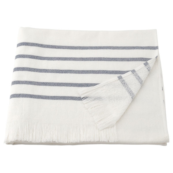 SIESJÖN Bath sheet, white/blue stripe, 100x150 cm