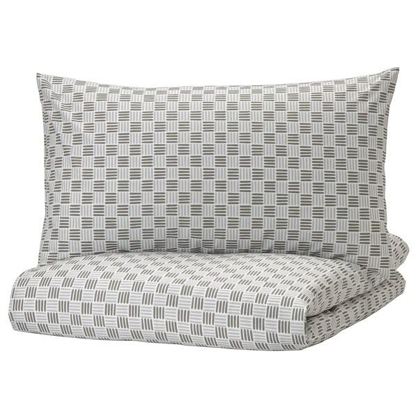 SILVERFRYLE غطاء لحاف/2كيس مخدة, أبيض/رمادي, 240x220/50x80 سم