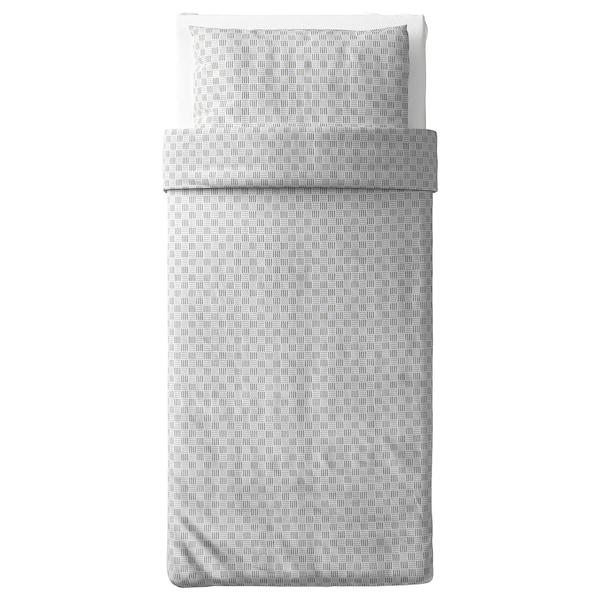 SILVERFRYLE غطاء لحاف/مخدة, أبيض/رمادي, 150x200/50x80 سم