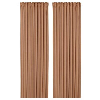 SILVERLÖNN Sheer curtains, 1 pair, light brown, 145x300 cm