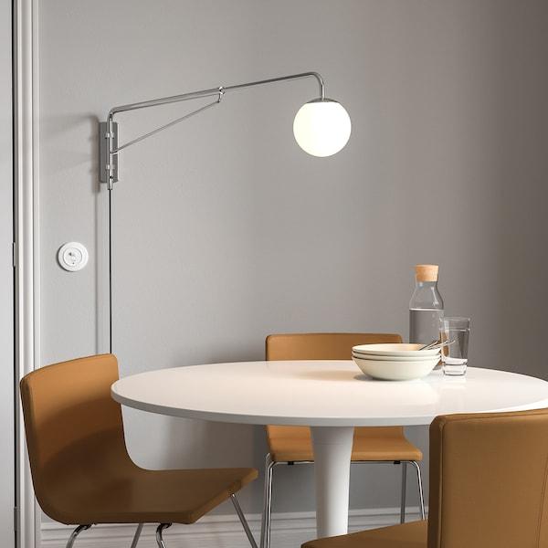 SIMRISHAMN Wall lamp with swing arm, chrome-plated/opal white glass