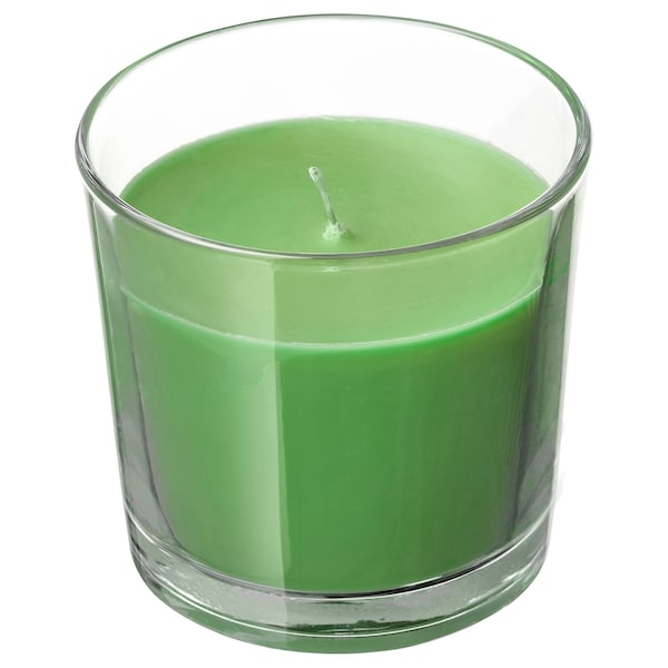 SINNLIG scented candle in glass Apple and pear/green 7.5 cm 25 hr
