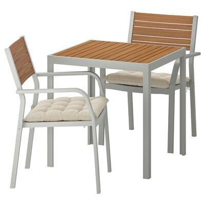 SJÄLLAND Table+2 chairs w armrests, outdoor, light brown/Hållö beige, 71x71x73 cm