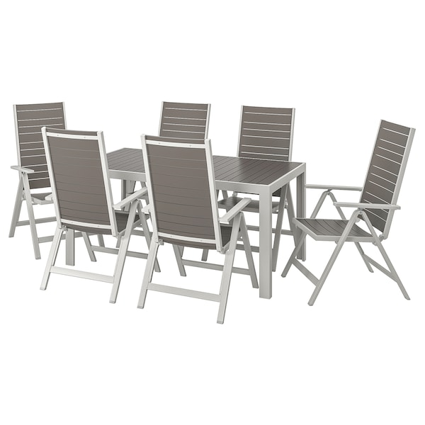 SJÄLLAND Table+6 reclining chairs, outdoor, dark grey/light grey, 156x90 cm