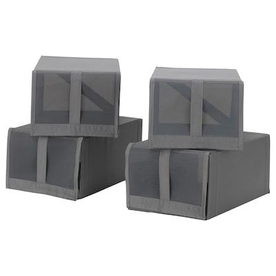 SKUBB صندوق أحذية, رمادي غامق, 22x34x16 سم
