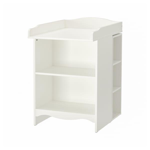 SMÅGÖRA طاولة تغيير/رف كتب مع وحدتي رف, أبيض