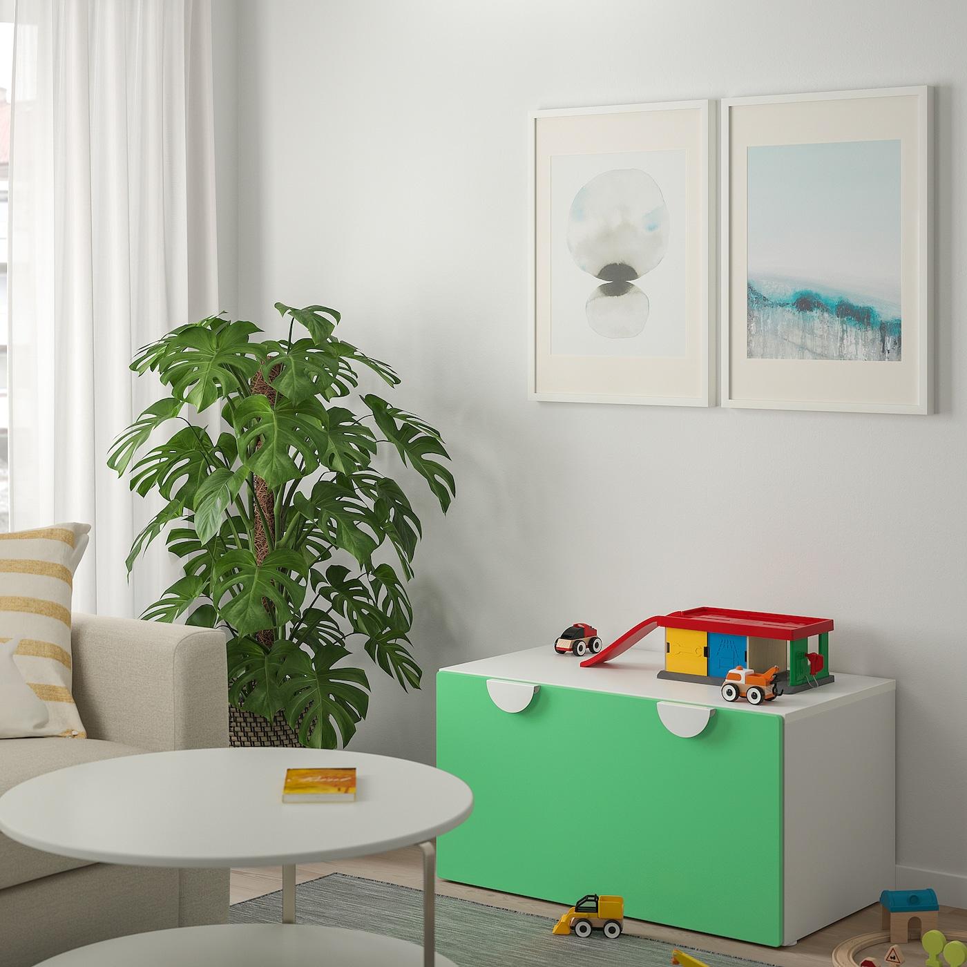 SMÅSTAD Bench with toy storage, white/green, 90x52x48 cm