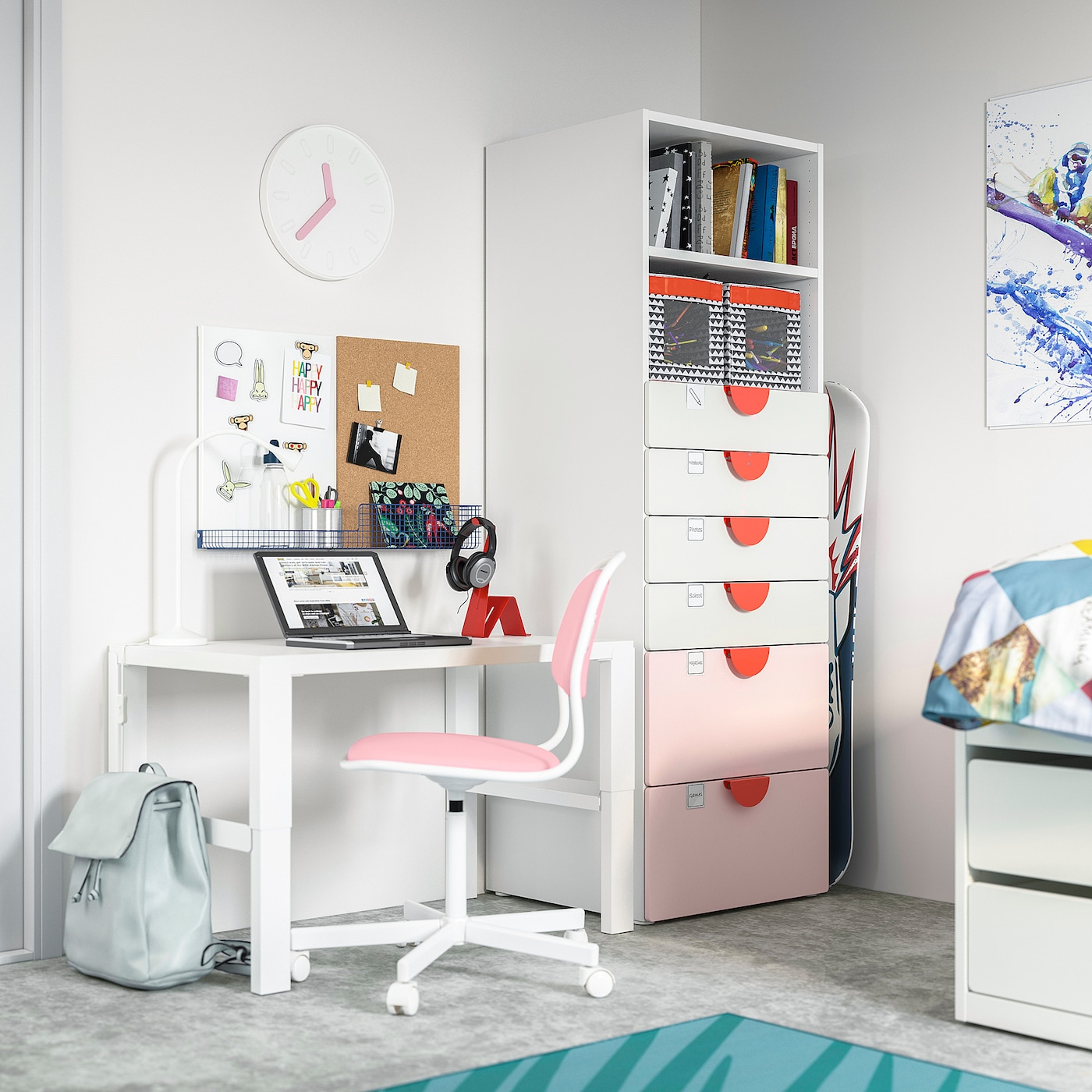 SMÅSTAD / PLATSA خزانة كتب, أبيض وردي فاتح/مع 6 أدراج, 60x57x181 سم