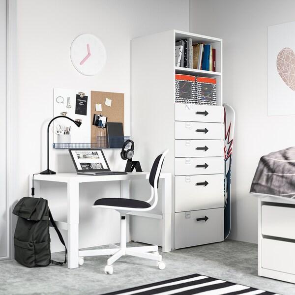 SMÅSTAD / PLATSA خزانة كتب, أبيض أبيض/مع 6 أدراج, 60x57x181 سم