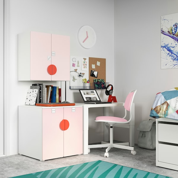SMÅSTAD خزانة حائطية, أبيض وردي فاتح/مع رف واحد, 60x32x60 سم