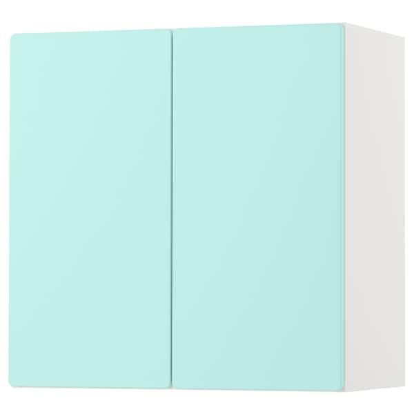 SMÅSTAD خزانة حائطية, أبيض تركواز باهت/مع رف واحد, 60x32x60 سم