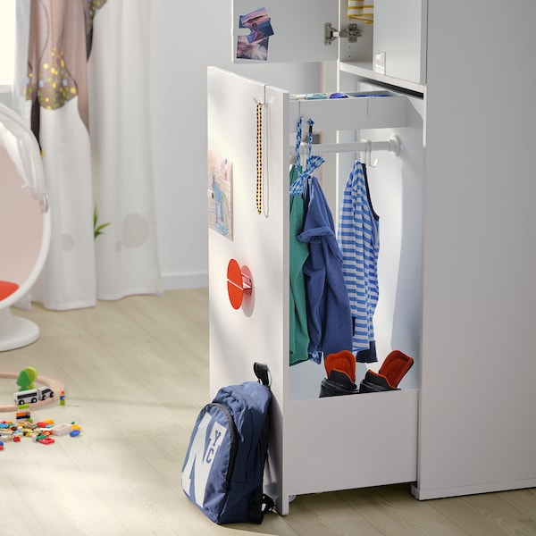 SMÅSTAD دولاب ملابس مع وحدة تُسحب للخارج, أبيض تركواز باهت/مع علاقة ملابس, 60x57x196 سم