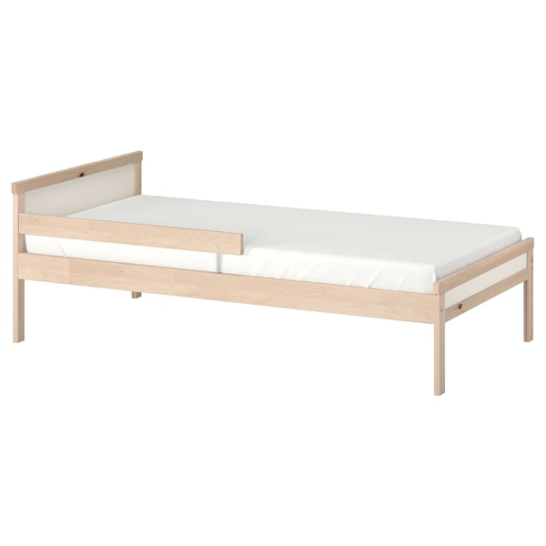 SNIGLAR Bed frame with slatted bed base, beech, 70x160 cm