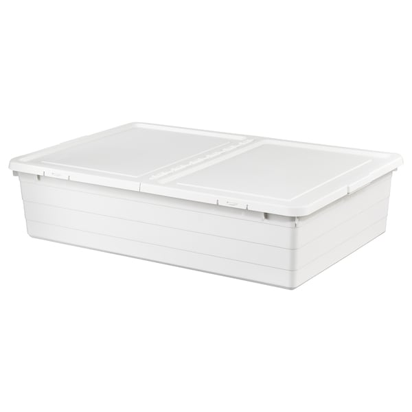 SOCKERBIT Storage box with lid, white, 50x77x19 cm