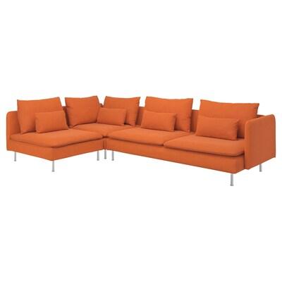 SÖDERHAMN كنبة زاوية، 4 مقاعد, مع طرف مفتوح/Samsta برتقالي
