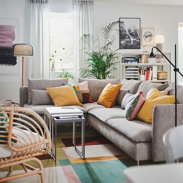 SÖDERHAMN Corner sofa, 4-seat, with open end/Viarp beige/brown