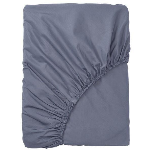 SÖMNTUTA Fitted sheet, blue-grey, 140x200 cm