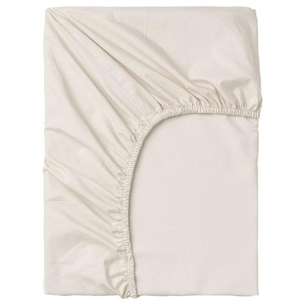 SÖMNTUTA Fitted sheet, light beige, 180x200 cm