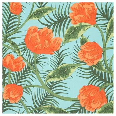 SOMMAR 2020 قماش, تركواز برتقالي/أزهار و أوراق, 150 سم