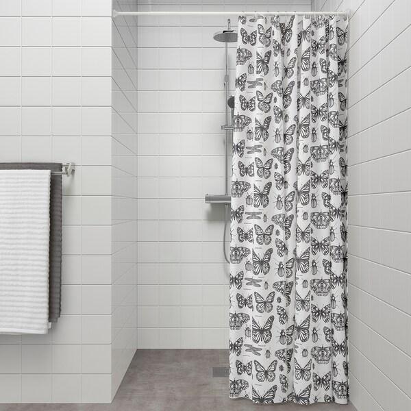 SOMMARMALVA shower curtain white/dark grey 105 g/m² 200 cm 180 cm 3.60 m²