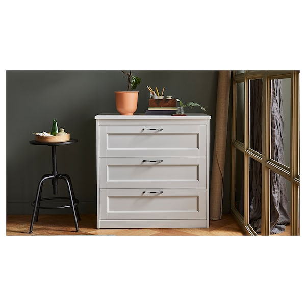SONGESAND Chest of 3 drawers, white, 82x81 cm