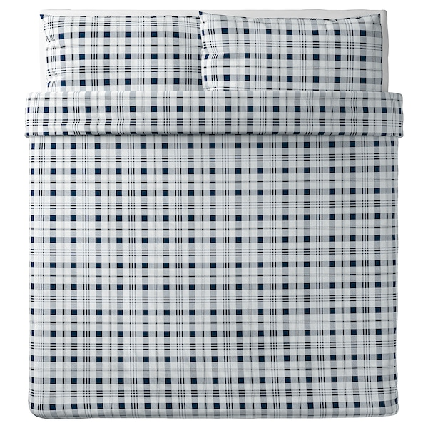 SPIKVALLMO غطاء لحاف/2كيس مخدة, أبيض أزرق/مربّع, 240x220/50x80 سم