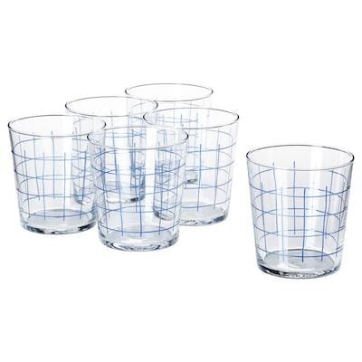 SPORADISK Glass, clear glass/check pattern, 30 cl