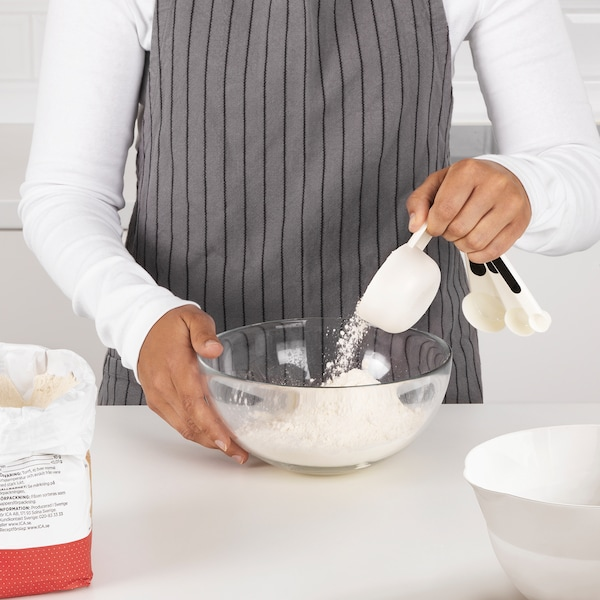 STÄM Set of 4 measuring cups, red/white/black