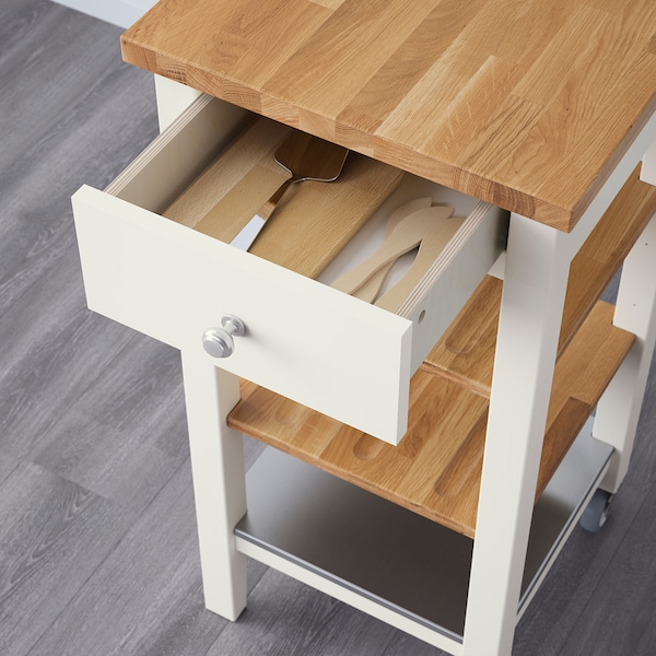 STENSTORP Kitchen trolley, white/oak, 45x43x90 cm