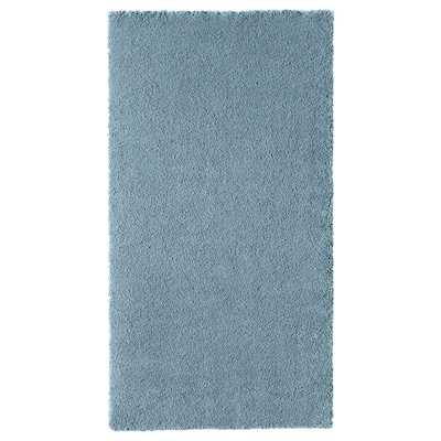 STOENSE Rug, low pile, medium blue, 80x150 cm