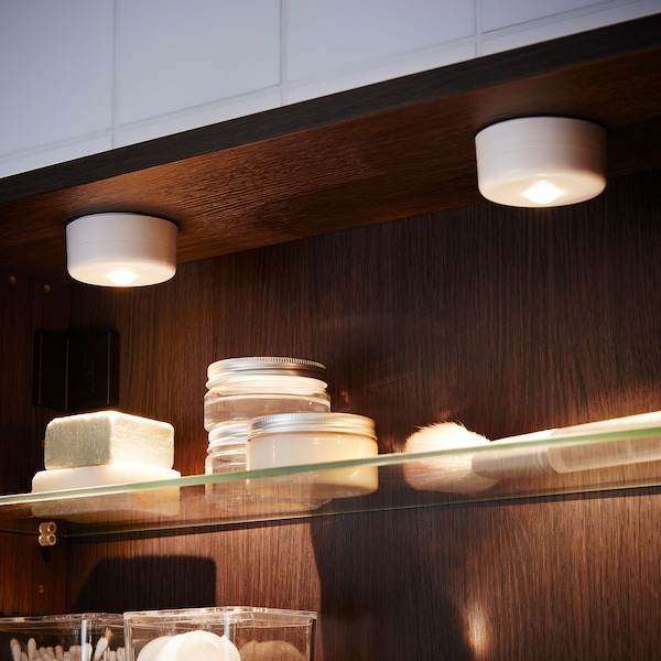 STÖTTA LED spotlight and clamp, battery-operated white