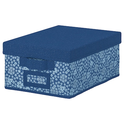 STORSTABBE Box with lid, blue/white, 25x35x15 cm