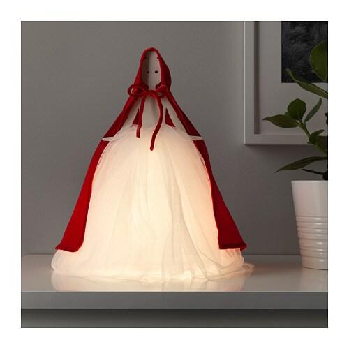STRÅLA LED table lamp, girl red, white