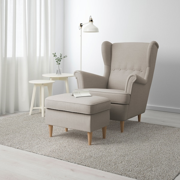 STRANDMON Footstool, Skiftebo light beige