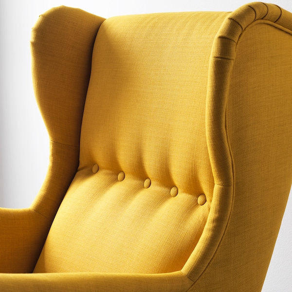 STRANDMON Wing chair, Skiftebo yellow