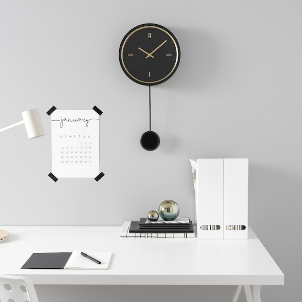 STURSK ساعة حائط, أسود, 26 سم
