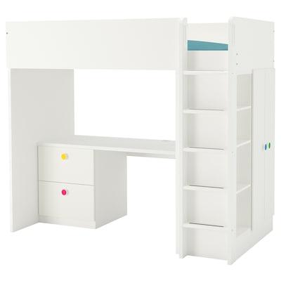 STUVA / FÖLJA Loft bed combo w 2 drawer/2 doors, white, 90x200 cm