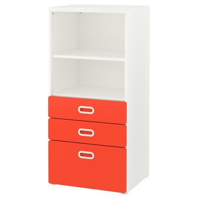 STUVA / FRITIDS Bookcase with drawers, white/red, 60x50x128 cm