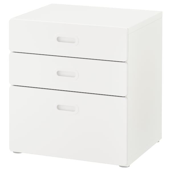 STUVA / FRITIDS وحدة تخزين بـ 3 أدراج, أبيض/أبيض, 60x64 سم