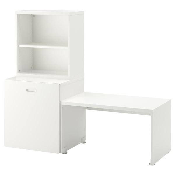 STUVA / FRITIDS طاولة مع خزانة ألعاب, أبيض/أبيض, 150x50x128 سم