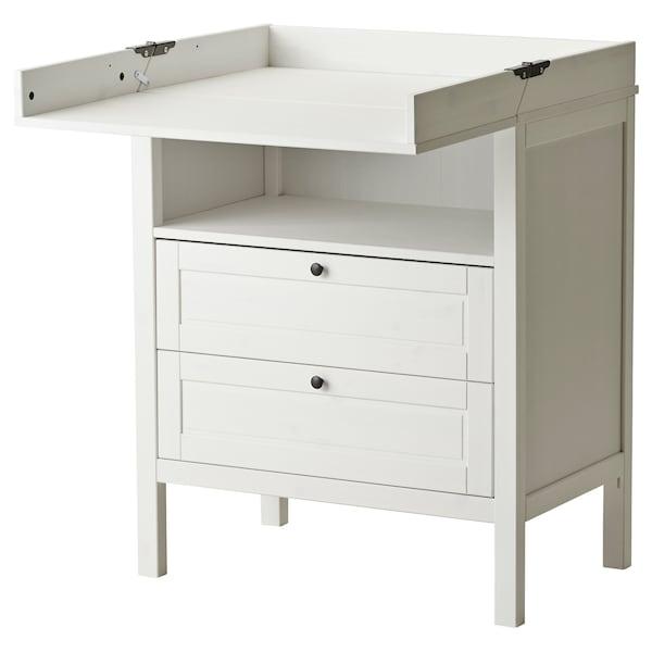 SUNDVIK طاولة تغيير/وحدة تخزين ذات أدراج, أبيض