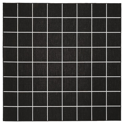 SVALLERUP سجاد بغزل مسطّح، داخلي/خارجي, أسود/أبيض, 200x200 سم